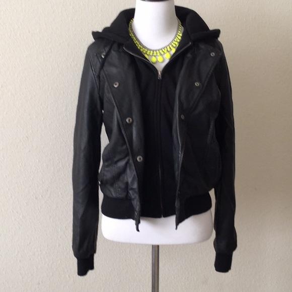 61b0e0b30 Faux leather jacket w/ fleece hooded sweatshirt